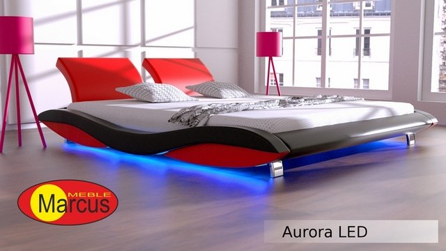Nowoczesne łóżko Tapicerowane Aurora Led Rgb Skóra Ekologiczna